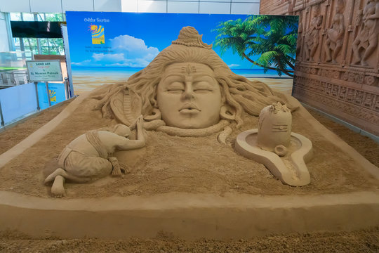 Bhubaneswar, Odisha, India - 23rd July 2019 : Sand sculpture of Lord Shiva at Biju Patnaik International Aiport. Beautiful Indian art.