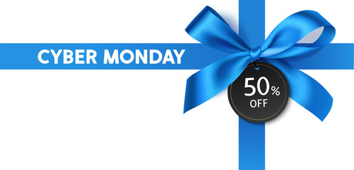 Wall Mural - Cyber monday sale design template. Decorative blue bow with price tag. Vector illustration.