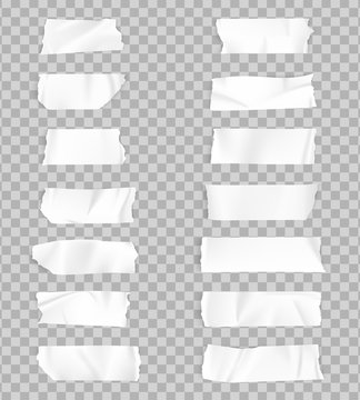 Realistic adhesive tape collection. Sticky scotch tape of different sizes. Vector illustration.