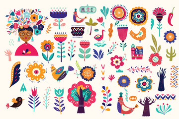 Fototapete - Mexican collection of plants, flowers, red pepper and birds. Colorful stylish Mexican ornaments for decoration projects and fabric and textile patterns. Folk, ethnic pattern