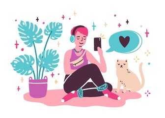 Young woman blogger sitting on the floor and taking selfie at home. Girl creating new content for blog, making new post in social media. Vector illustration in flat cartoon style