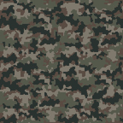 Digital Camouflage Seamless Pattern - Abstract pixelated design of camouflage repeating pattern