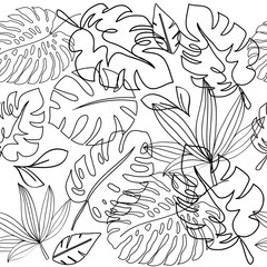 Vector illustration of black silhouettes with tropical leaves in one line on a white background seamless pattern. Summer concept