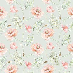 Seamless watercolor pattern of wild flowers. Flower background of poppies and leaves.