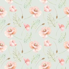 Motif aquarelle transparente de fleurs sauvages. Fond de fleur de coquelicots et de feuilles.
