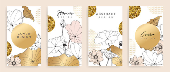 Fotobehang - Luxury cover design template. Lotus line arts hand draw gold lotus flower and leaves. Design for packaging design, social media post, cover, banner, creative post, Gold geometric pattern design vector