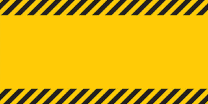 Black yellow striped banner wall Hazard industrial striped road warning Yellow black diagonal stripes Seamless pattern Vector