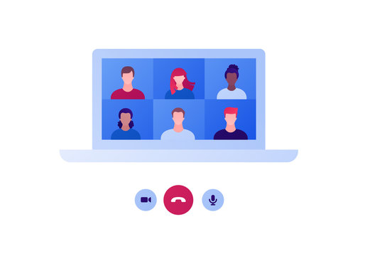 Video teleconference and remote online meeting concept. Vector flat person illustration. Group of multiethnic people avatar on laptop computer screen. Design for banner, web, infographic