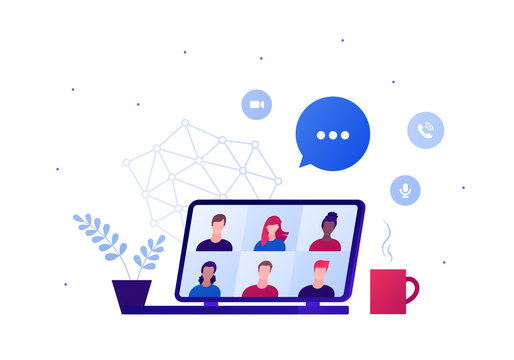 Video teleconference for home office or friend party concept. Vector flat person illustration. Group of multiethnic people avatar on laptop screen. Hot drink, talk bubble. Design for banner, web.