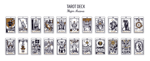 Big Tarot card deck.  Major arcana set part  . Vector hand drawn engraved style. Occult and alchemy symbolism. The fool, magician, high priestess, empress, emperor, lovers, hierophant, chariot Fotobehang