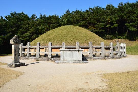 "Tomb of General Kim Yu-sin in Gyeongju, Korea. Inscription: 新羅太大角干金庾信墓 ""Tomb of Silla Supreme Herald of Defense Kim Yu-sin"""