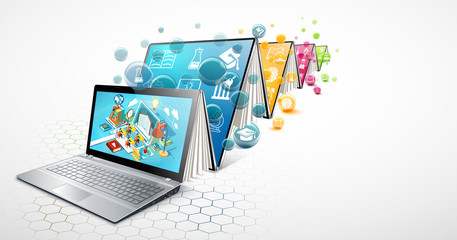 Laptop as a book. The concept of learning. Online education. Vector Illustration
