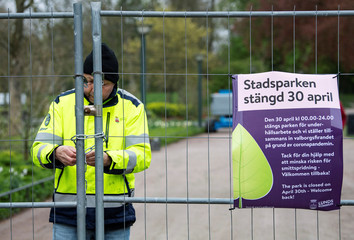 The City park Stadsparken is closed in an attempt to prevent residents from gathering there to mark the Walpurgis Night, in Lund