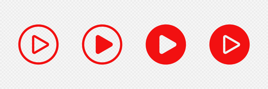 Red play buttons on transparent background. Web social networks icon set. Vector