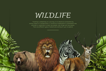 Wildlife poster with various animals vector Papier Peint