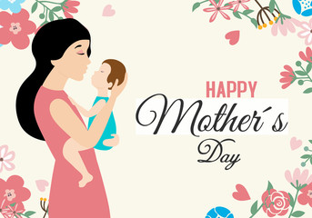 Wall Mural - Happy Mother's Day. Mom holding the baby in her arms