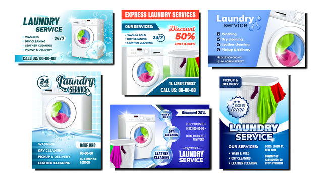 Laundry Services Advertising Posters Set Vector. Collection Of Different Promo Banners Flyers With Laundry Washing Machine Electronic Tool And Basket Filled. Housework Template Illustrations