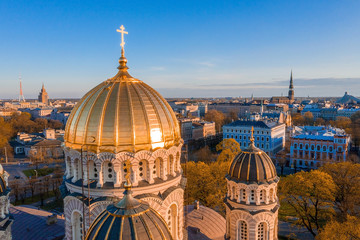 Printed roller blinds Berlin Aerial top view of Riga Nativity of Christ Cathedral - Famous Church And Landmark of Latvia. Golden Yellow Domes at sunset.