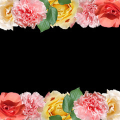 Fototapete - Beautiful flower pattern of roses and carnations. Isolated