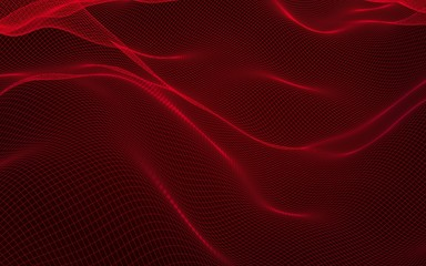 Printed roller blinds Bordeaux Abstract landscape on a red background. Cyberspace grid. hi tech network. 3D illustration