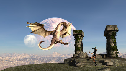 Illustration of a female warrior leaping from the ground in front of a ruins to kill a flying dragon Fotoväggar