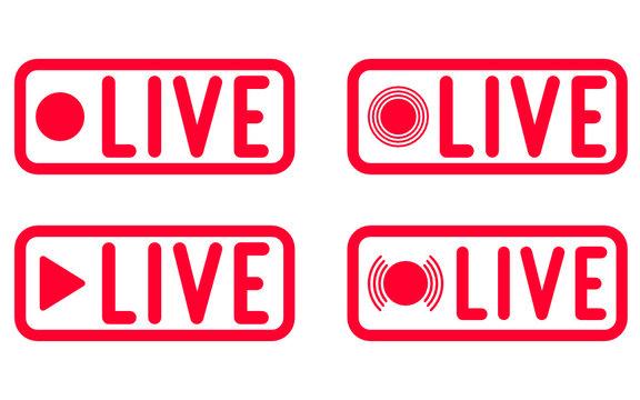 Set of live streaming symbols. Broadcast icons. Social media live video