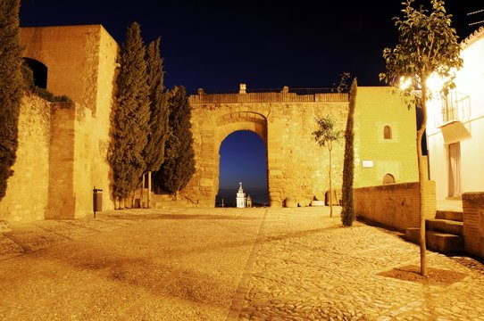 Giants arch (Arco de los Gigantes) at night, Antequera, Andalusia, Spain.