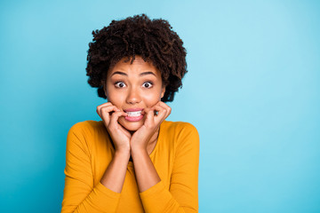 Fototapete - Close up photo of frustrated sad fear afro american girl hear horrible her job mistake news bite nails teeth wear good look sweater isolated over blue color background