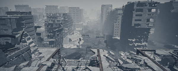 Obraz wasteland city and apocalypse aftermath, ruins of city. 3d render, 3d illustration - fototapety do salonu