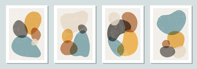 Set of minimal posters with abstract organic shapes composition in trendy contemporary collage style Papier Peint