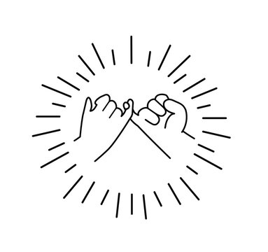 Pinky swear promise flat design line icon vector