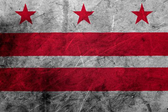 Flag of washington dc, USA, on a grunge metal texture