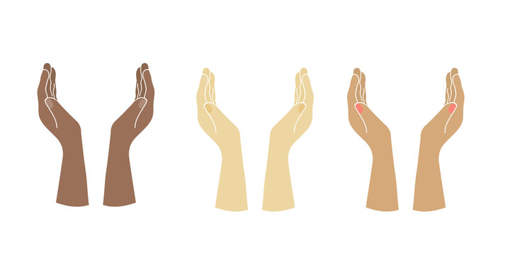 Hands of people of different nationalities. European, mulatto, black man hands. Prayer, appeal to God. Stock vector illustration 01
