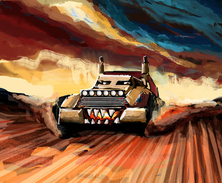 Illustration of a angry buggy in the setting of post apocalypse in the desert