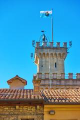 Wall Mural - National flag of San Marino on the top of city hall