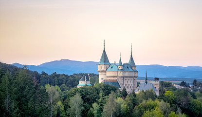 Bojnice castle in west Slovakia at sunset Wall mural
