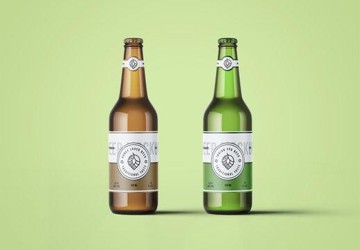 2 Beer Bottles Mockup