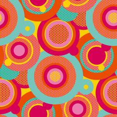 Fun colorful pop art circles seamless pattern