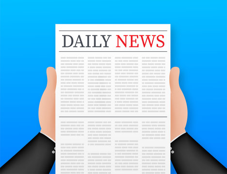 Vector mock up of a blank daily newspaper. Fully editable whole newspaper in clipping mask. Vector stock illustration