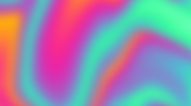 Trendy texture with polarization effect and colorful neon holographic stains. Abstract background in psychedelic Vaporwave style like in old retro tie-dye design of 70s.