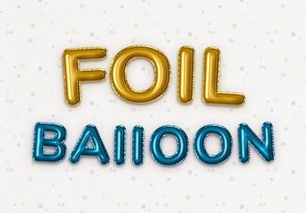 Foil Balloon Festive Party Text Effect Mockup
