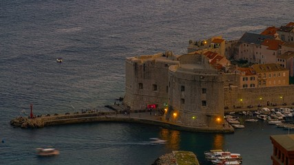 Breakwater in the city of Dubrovnik in the late evening, vacated by vacationers and swimmers