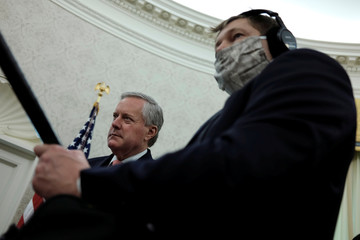 White House Chief of Staff Meadows attends Trump-Murphy coronavirus response meeting at the White House in Washington