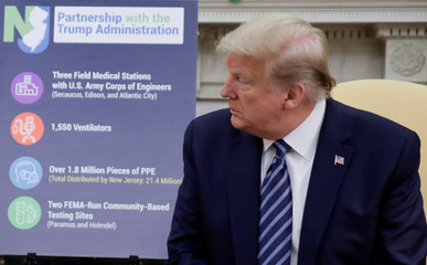 U.S. President Trump holds coronavirus response meeting with New Jersey Governor Murphy at the White House in Washington