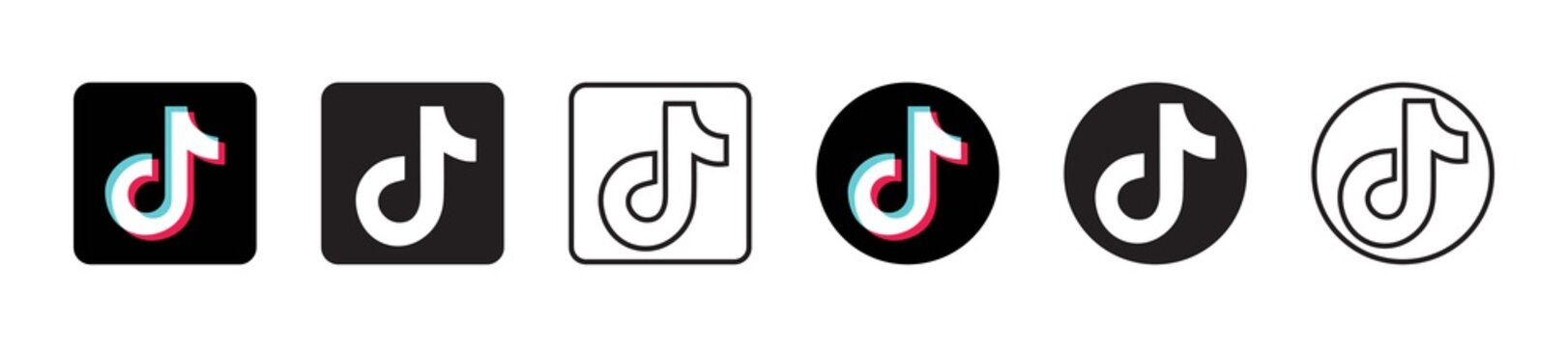 Tik Tok logo set in six different versions in a flat design