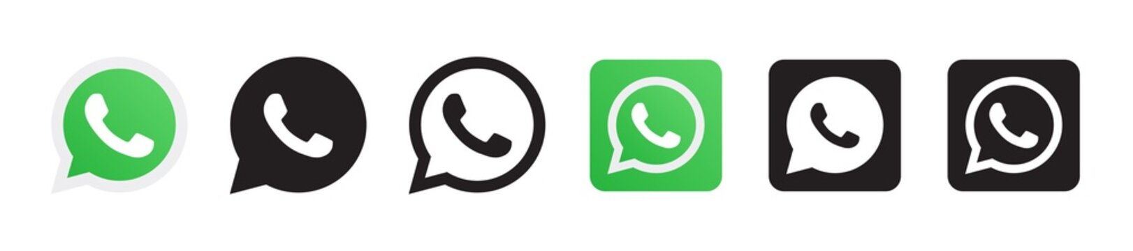 Whatsapp logo set in six different versions in a flat design