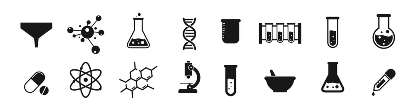 Science laboratory icons on white background. Chemistry icon vector Illustration