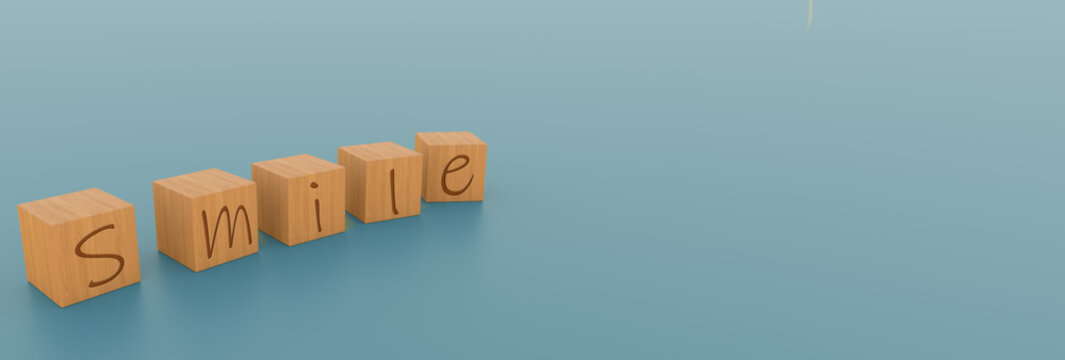 A  3D Illustration of the word smile with the letters in wooden boxes in a solid color background