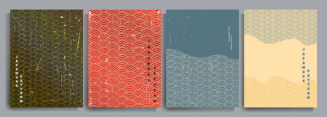Vector illustration. Abstract background set. Japanese pattern design. Geometric template collection. Traditional of Japan. Asian poster concept. Vintage art. 70s, 80s retro graphic.