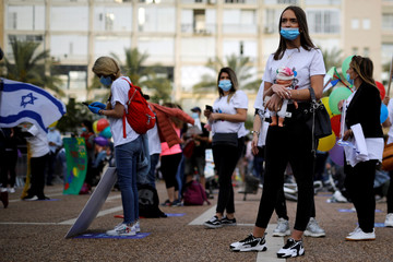 Kindergarten teachers and others wear face masks as they protest against the government plan to reopen kindergartens and schools for young children, as the spread of the coronavirus disease (COVID-19) continues, at Rabin square, Tel Aviv